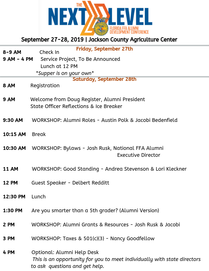 Alumni Conference Schedule